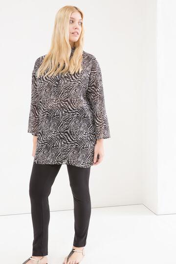 Curvy long animal print blouse, Black/Grey, hi-res
