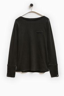 Smart Basic T-shirt with welt pocket, Black, hi-res