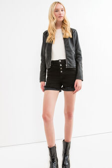 Faux leather jacket with zip, Black, hi-res