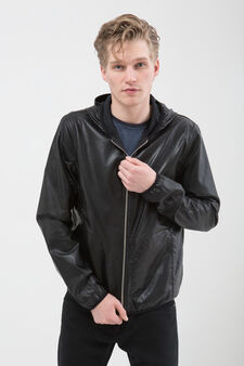 Leather look jacket with hood, Black, hi-res