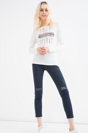 Stretch viscose sweatshirt with print, Milky White, hi-res