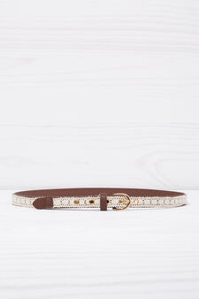 Belt with contrasting colour insert, Leather Brown, hi-res