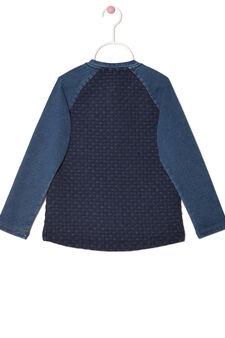 Sequinned stretch sweatshirt, Blue, hi-res