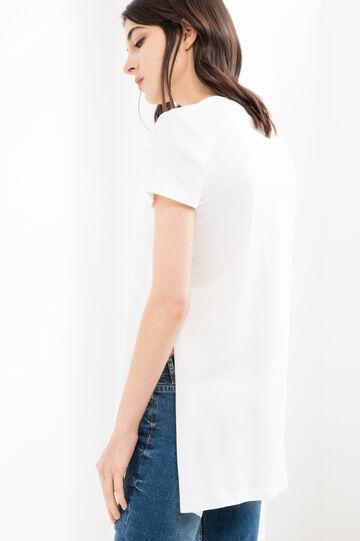 T-shirt puro cotone stampa teschio, Bianco latte, hi-res