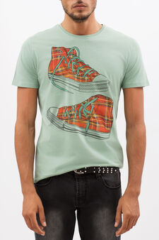 T-shirt with contrasting print, Light Green, hi-res