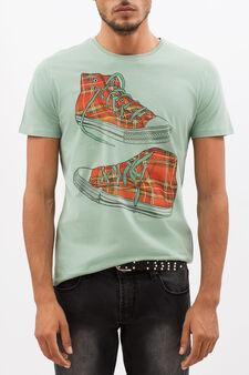 T-shirt con stampa a contrasto, Verde chiaro, hi-res