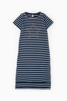 Striped viscose nightshirt, White/Blue, hi-res