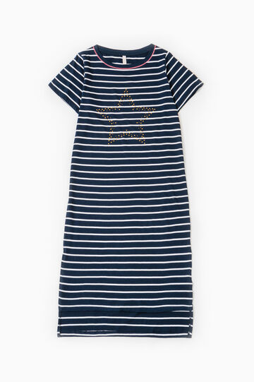 Striped viscose nightshirt, White/Blue, hi-res