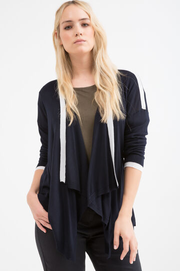 Curvy cardigan with shawl neck, Navy Blue, hi-res