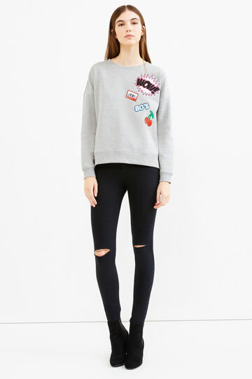 Cotton blend sweatshirt with patches, Grey Marl, hi-res