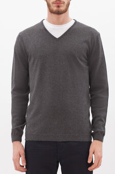 V-neck pullover in silk and cashmere, Slate Grey, hi-res