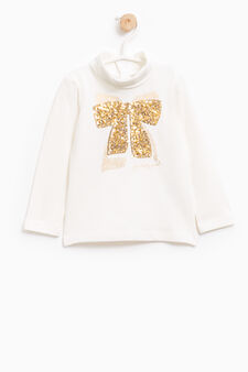 Stretch cotton T-shirt with sequins, Milky White, hi-res