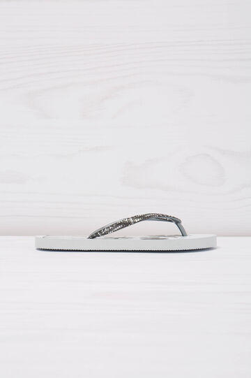 Palm tree print thong sandals, White, hi-res