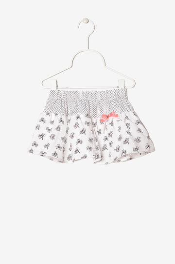 Patterned skirt with bow, White/Black, hi-res