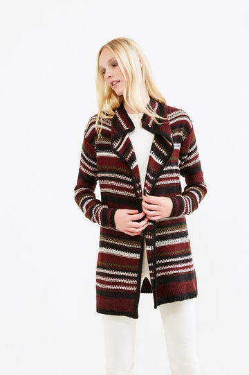 Long cardigan with striped pattern, Black, hi-res