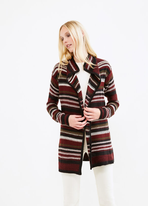 Long cardigan with striped pattern | OVS