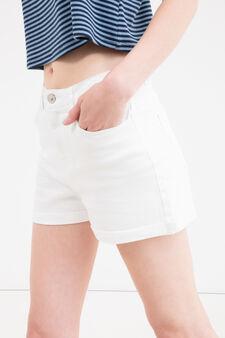 Shorts cotone stretch tinta unita, Bianco, hi-res