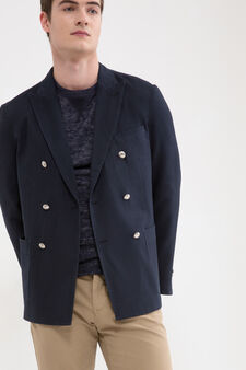 Rumford stretch double-breasted jacket, Dark Blue, hi-res
