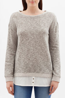 Mélange sweatshirt with faux layered effect, Army Green, hi-res