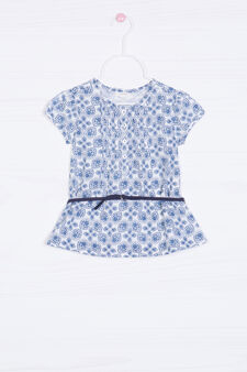 Patterned shirt in 100% cotton, White/Blue, hi-res