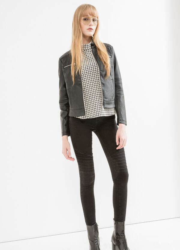 Quilted leather look jacket | OVS
