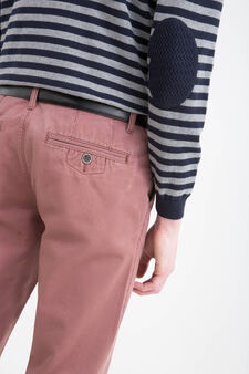 Regular-fit chino trousers in cotton twill, Red, hi-res