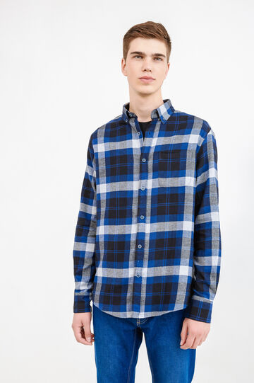 Tartan shirt with button-down collar, Black/Blue, hi-res