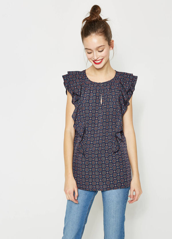 Blouse with flounce and all-over print | OVS