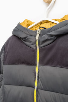 Solid colour down jacket with hood, Grey, hi-res