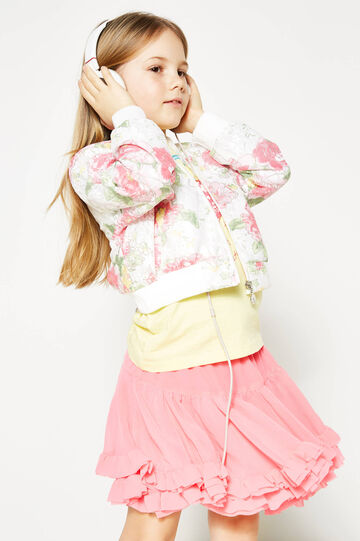 Lace bomber jacket with floral pattern