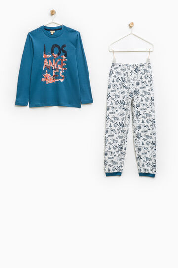 100% cotton printed pyjamas, Blue, hi-res
