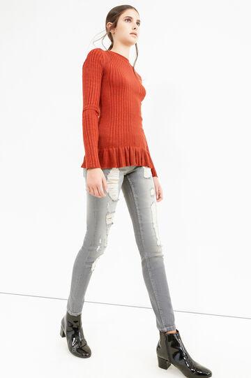 Jeans skinny fit stretch strappati, Grigio, hi-res