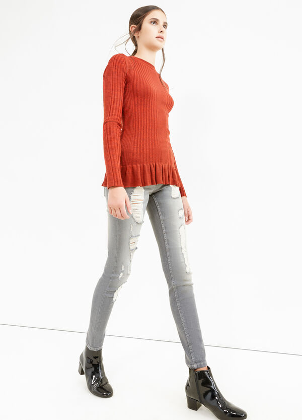Skinny-fit stretch jeans with rips | OVS
