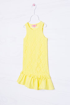 Stretch lace dress with frills, Yellow, hi-res