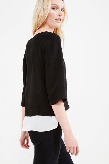 Crêpe sweatshirt with faux layered hem, Black, hi-res