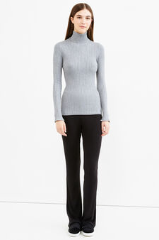 Ribbed pullover with high neck, Grey, hi-res