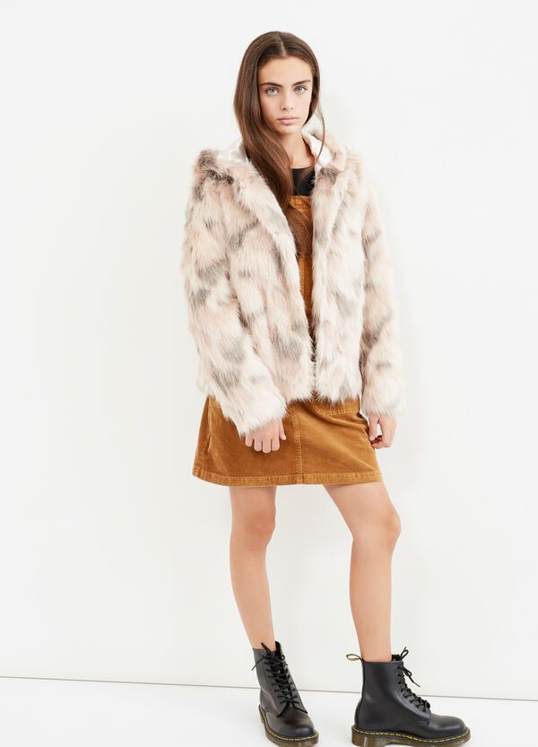 Teen fur jacket with animal pattern | OVS