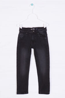 Worn-effect jeans, Black, hi-res