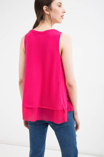 Stretch viscose blend peplum top, Fuchsia, hi-res