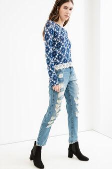T-shirt viscosa stretch stampa all-over, Blu, hi-res