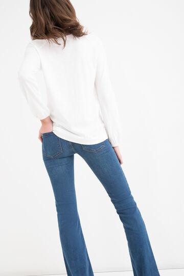 Patterned T-shirt in 100% viscose, Navy Blue, hi-res
