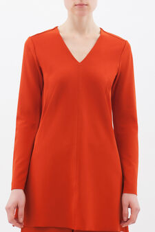 Plain stretch blouse, Orange, hi-res