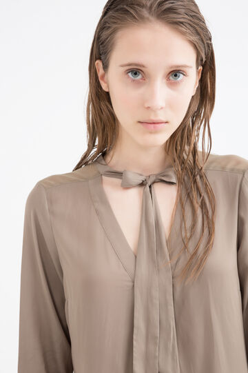 Solid colour blouse with neck ties, Sage Green, hi-res