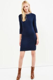 Short dress in stretch viscose blend, Navy Blue, hi-res