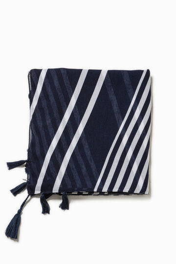 Striped scarf with tassels, White/Blue, hi-res