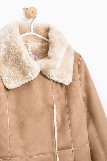 Solid colour  suede coat, Beige, hi-res
