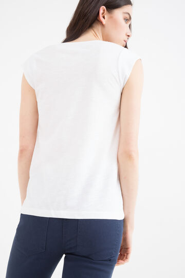 Solid colour T-shirt in 100% cotton, White, hi-res