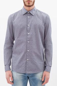 Floral slim-fit shirt, White/Grey, hi-res