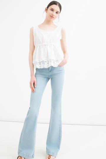 Openwork top in 100% cotton, Cream White, hi-res
