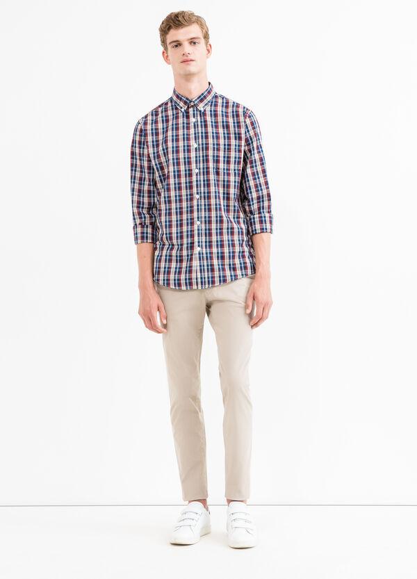 Check cotton blend casual shirt | OVS